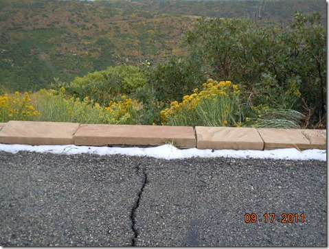 Snow on the side of the road