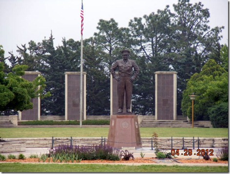 Ike' Statue with Pylons behing him.