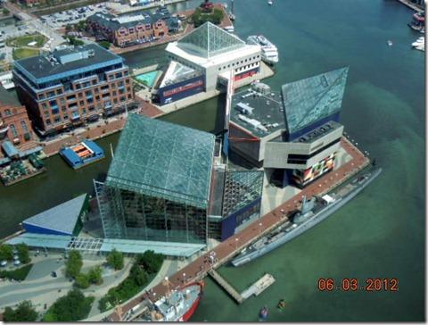 Aquarium from top of World Trade Center Baltimore
