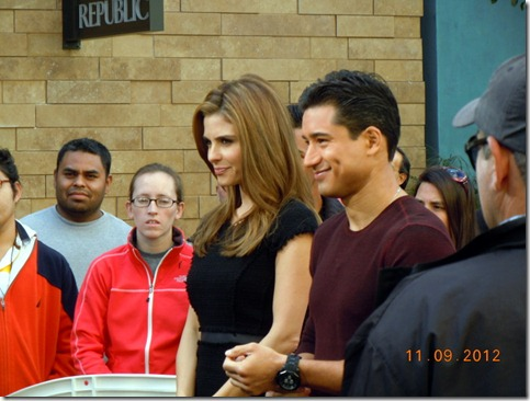 Mario Lopez filming episode of Extra