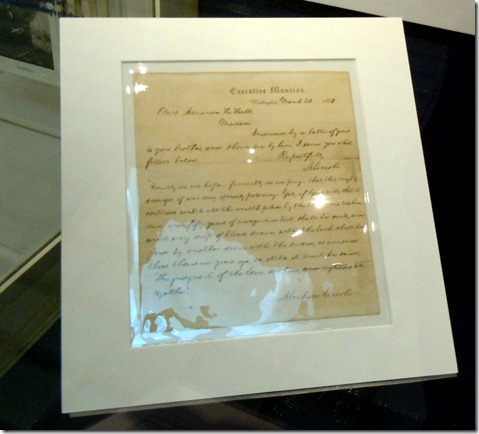 A letter handwritten by Abe Lincoln while president.