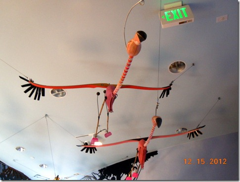 Flamingos made from recycled materials