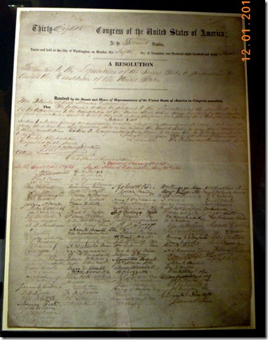 A copy of the original 13th Ammendment to the Consitiution