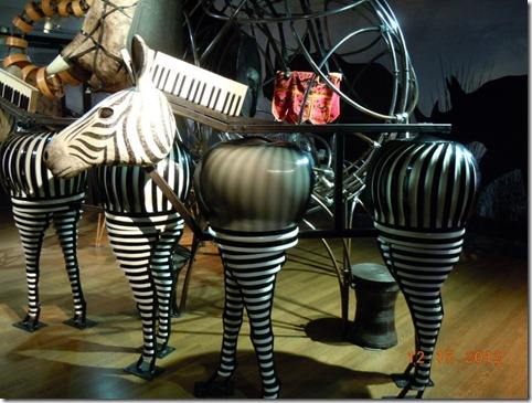 Zebra's made from a piano keyboard, aire vents and bands of steel