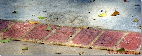 George Burns initials in driveway of his and Gracies house