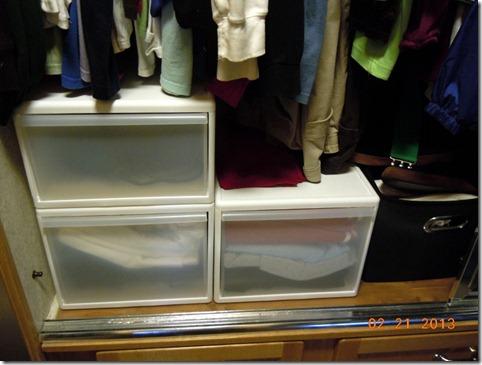 Storage bins in our closet.