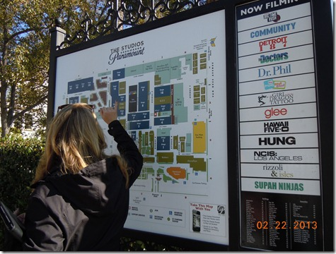What is currently filming and the map of the lot.