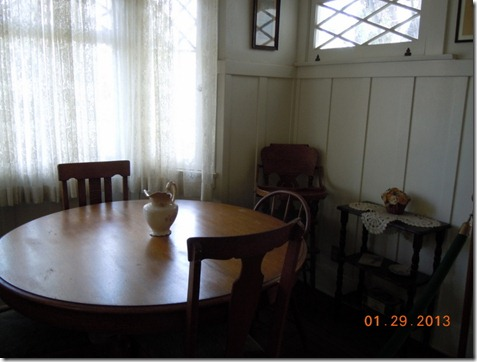 Nixon's high chair and dining room table