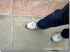 Bob's foot in footsteps