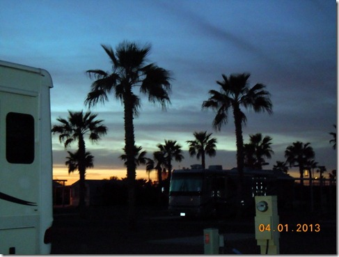 Sunset in Palm Creek Golf and RV Park