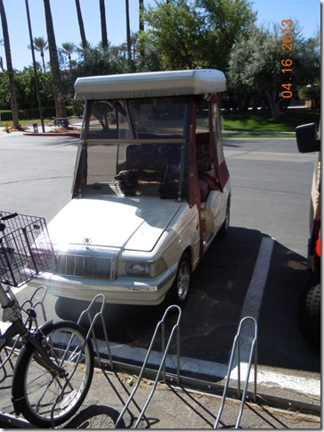 A caddilac golf cart