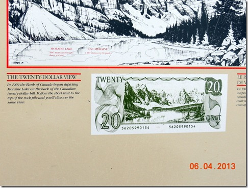 Lake Moraine on the Canadian $20 bill