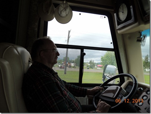 Bob driving the motor home through Taylor