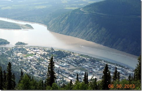 Dawson City from top of Dome Mountain