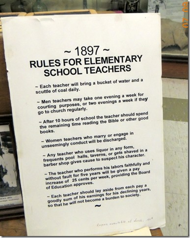 Rules for school teachers-Pioneer Park Fairbanks AK