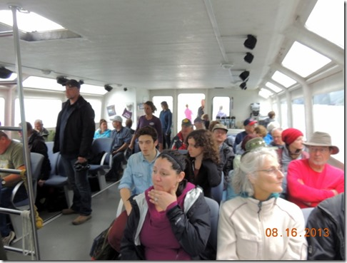People on the ferry, Bob in thrid row
