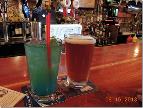 Blue margarita and Red Ale at Red Dog Saloon