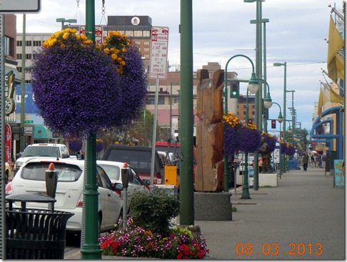 4th Street in Anchorage, with flower baskets