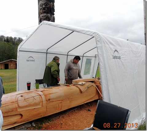 First Nation members craving a totem in Gitayow BC