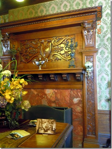 Fireplace in grand hall.