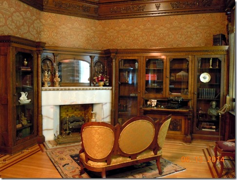 Library with orginal furnitureThe wall coverings a reproductions of the original