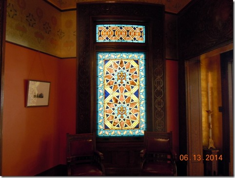 Stain glass window in the Morrish Room
