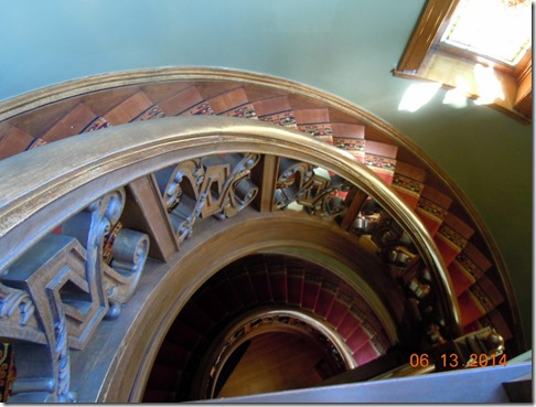 Circular banister, looking down from top floor