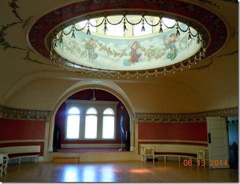 Ballroom on top floor with the eight nymphs of Greek Mythology dancing in clouds