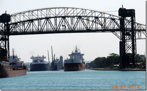 Tankers lined up to go through American lock