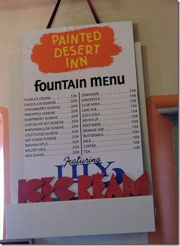 Menu, Painted Desert Inn