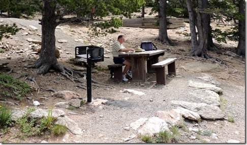 Our picnic table of Juniper Pass in Arapahoe National Forest