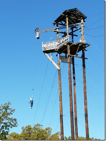 Bob jumping from zipline