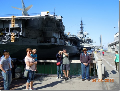Bob in front of USS Midway, at Embarcadaro