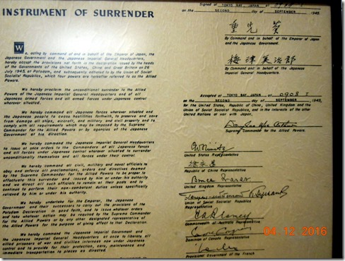 Copy of the surrender document for WWII