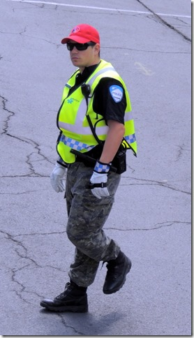 Police officer with camaflage pants