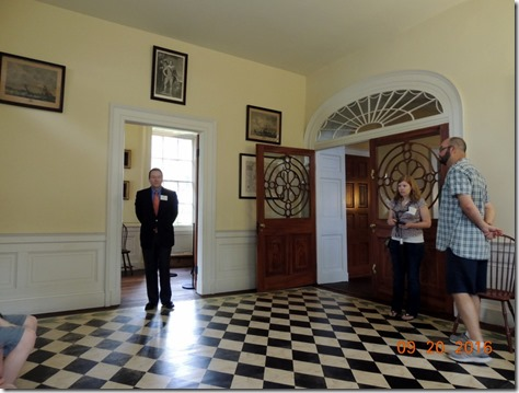 Our guide in the entrance way,Nathanial Russel House, Charleston SC
