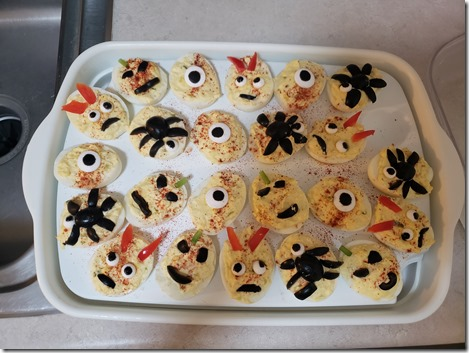Halloween devil eggs